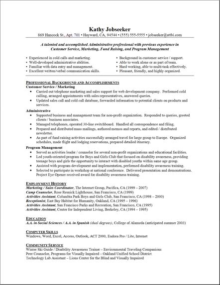 Sample Resume Administrative