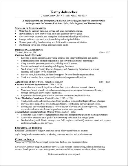 customer service resume sample : sample customer service resume