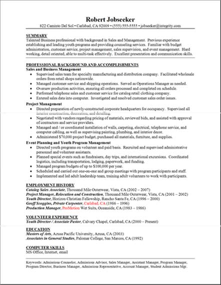 Good Sample Resume : Good Resume Sample