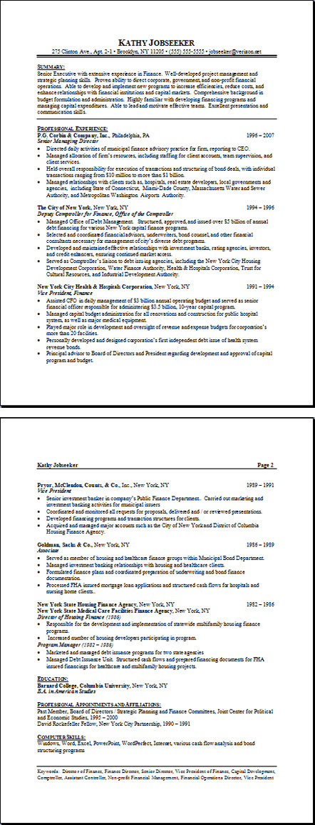 sample finance resume : finance resume example