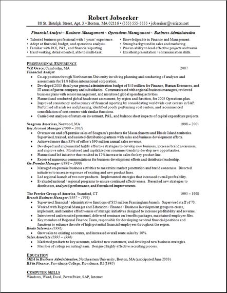 financial analyst resume example financial analyst