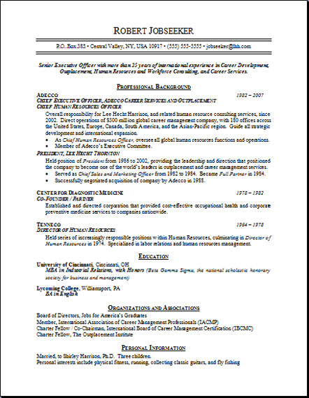 Resume Sample 17 - Human Resources Resume - Career Resumes ...