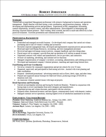 student resume sample. Sample Resume Example