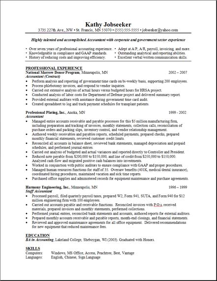 Sample Resume Layout Free Resumes