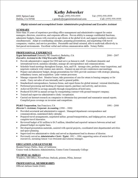sample resume secretary : secretarial resume