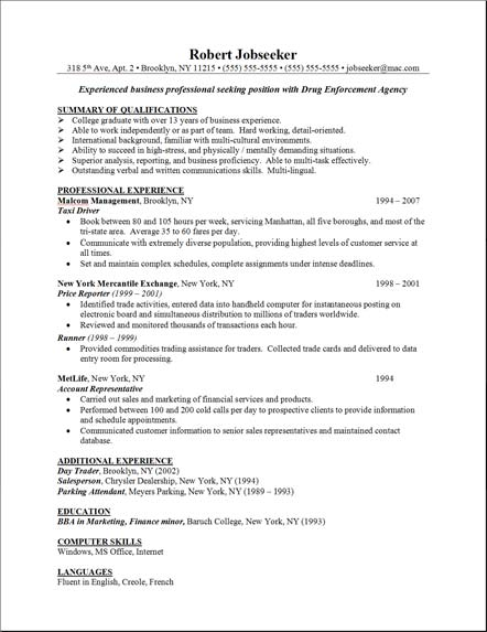 Sample Resume Skills Example