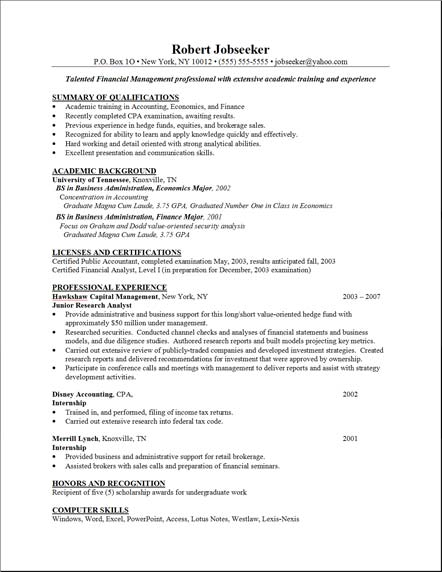 sample resume template : resume example