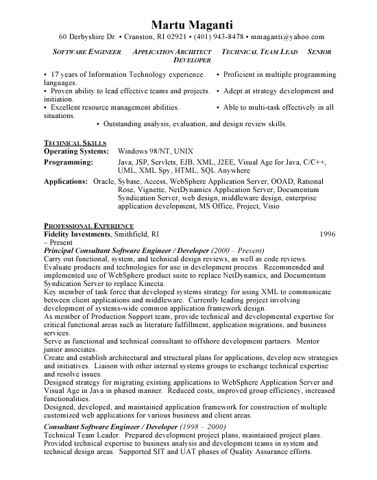 application architect sample resume