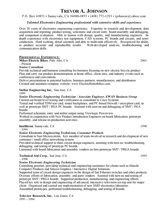 associate engineer sample resume