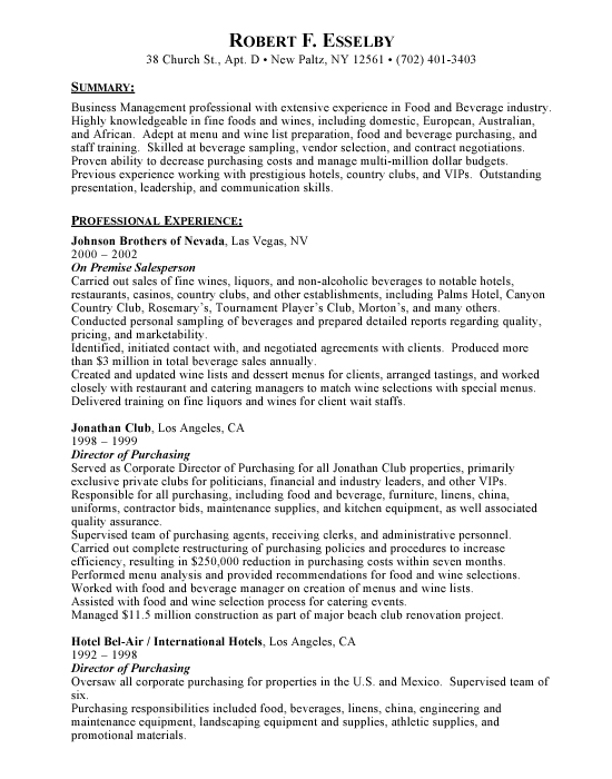 business management sample resume
