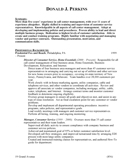 call center resume templates call center manager resume sample resume