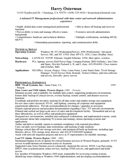 data center manager sample resume