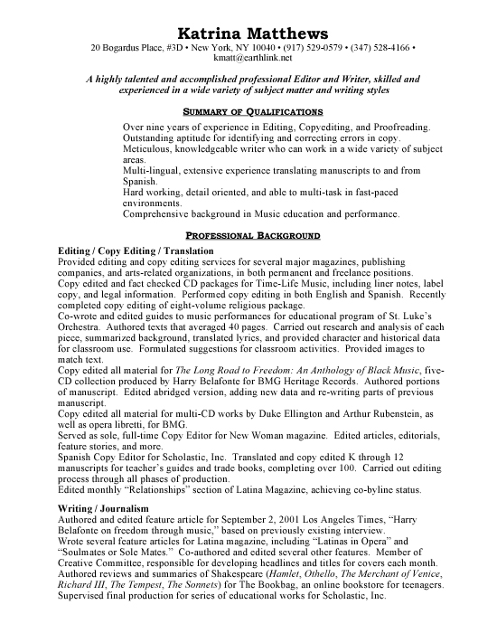 basic resume examples. Editor Sample Resume