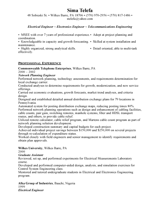 electrical engineer sample resume | template | Example