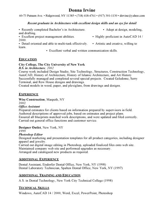 entry level architect sample resume examples templates