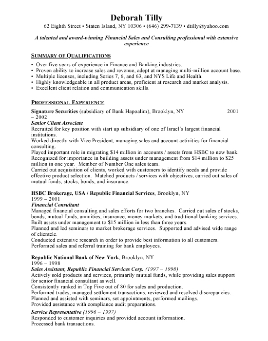 financial consultant sample resume