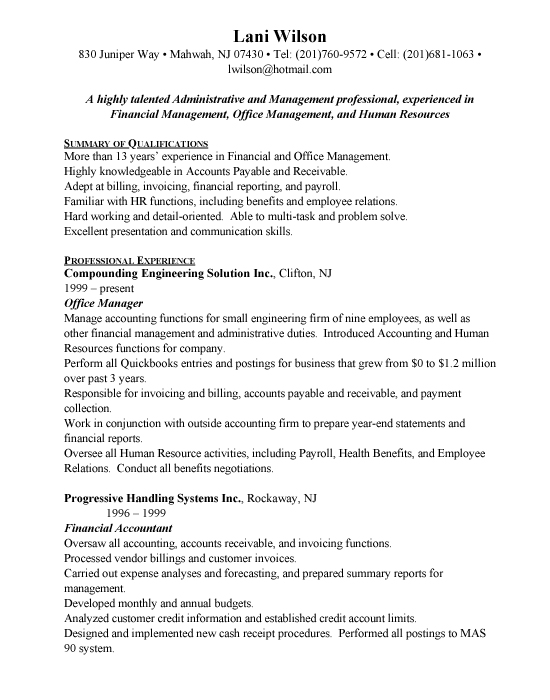 office management sample resume