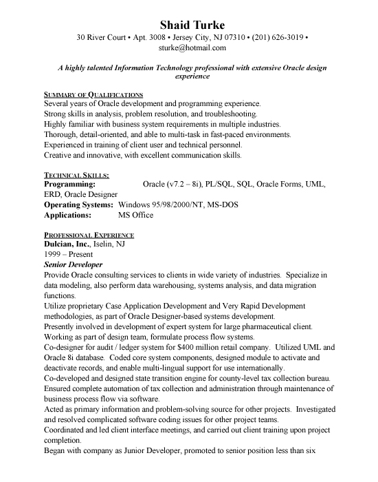 oracle developer sample resume