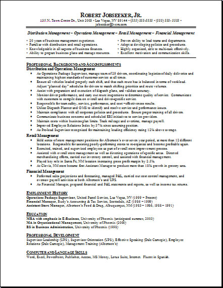 Examples of written resumes