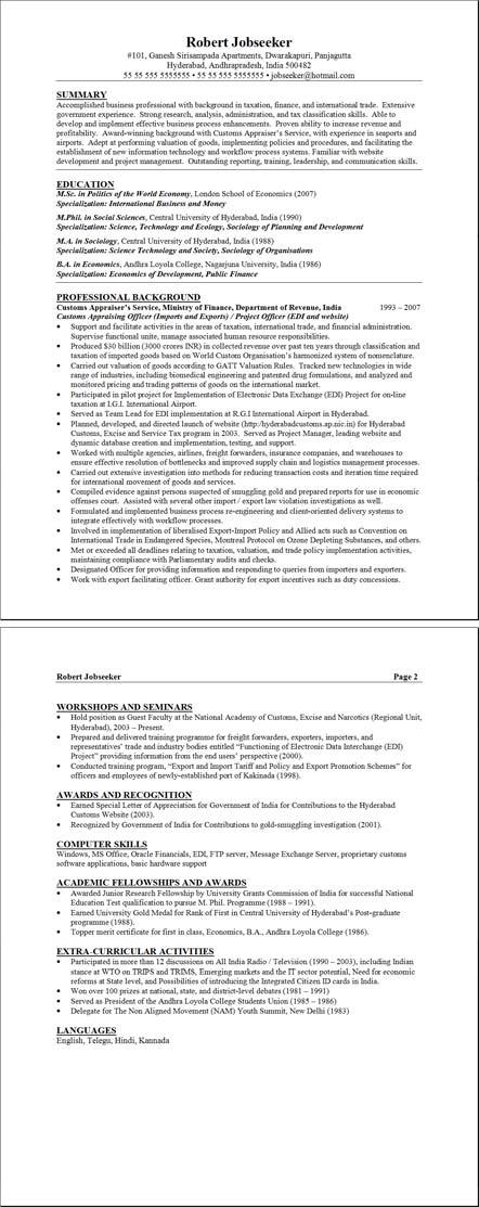 sample of resumes