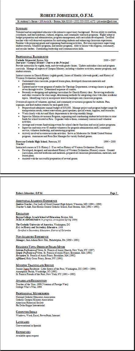 job resume format examples. Teacher Resume Example