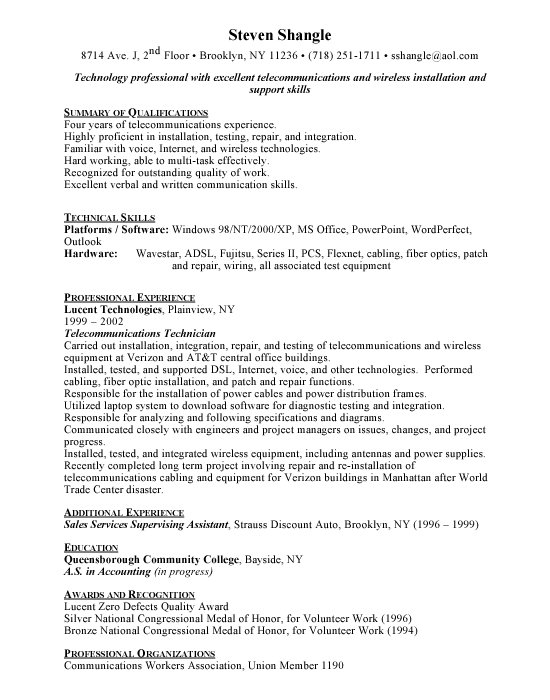 telecommunications technician sample resume | example | template