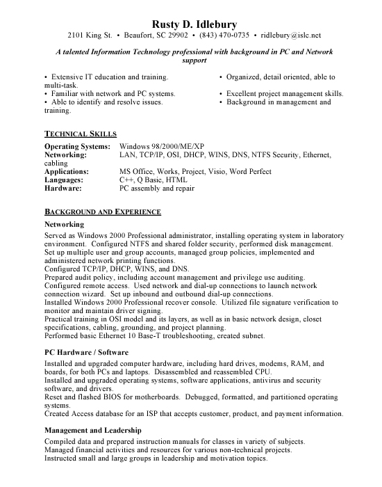 Network Support Sample Resume