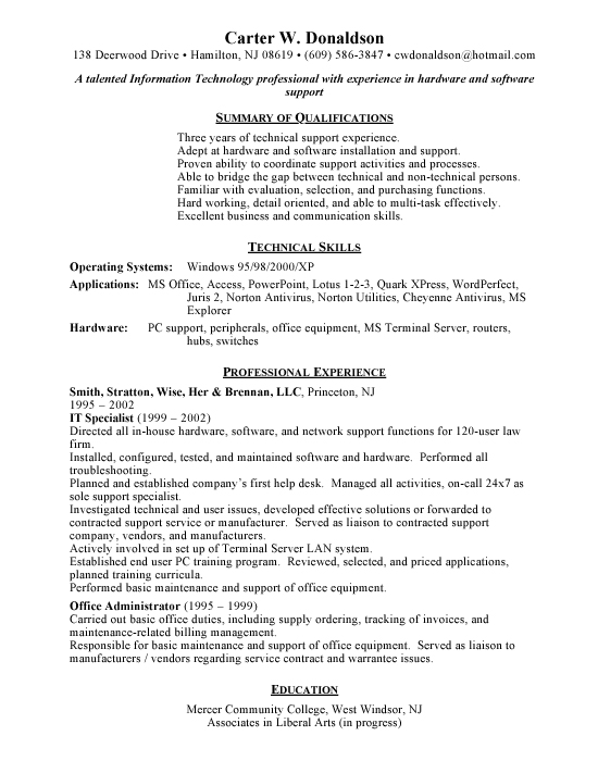 Resume helpdesk objective