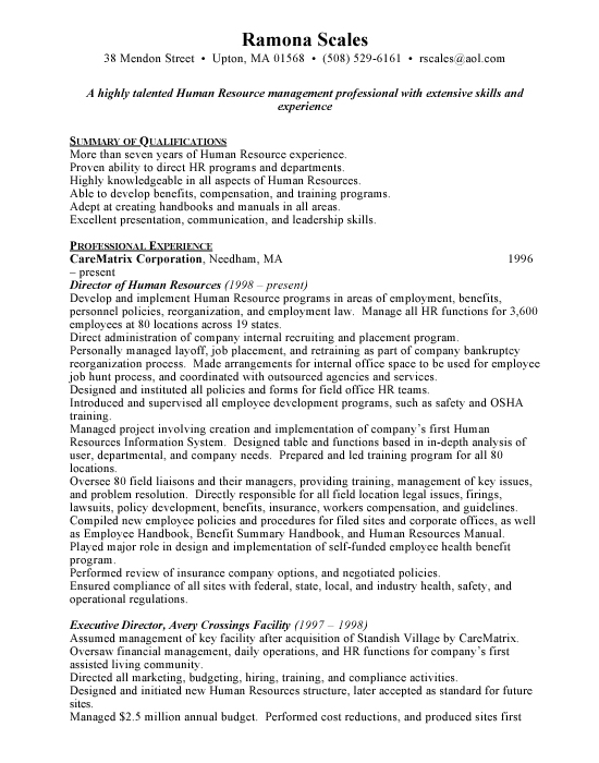 Human Resources Director Sample Resume