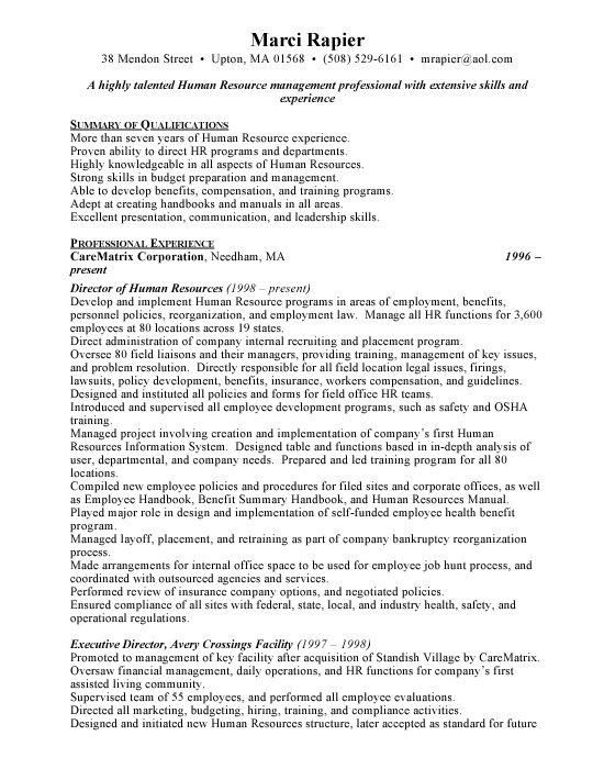 Director of Human Resources Sample Resume