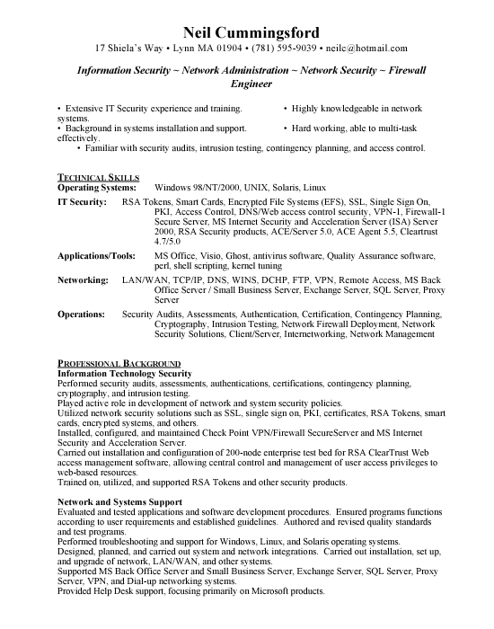 information security free resumes
