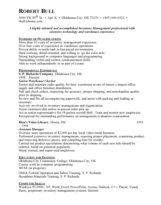 Inventory Management Sample Resume