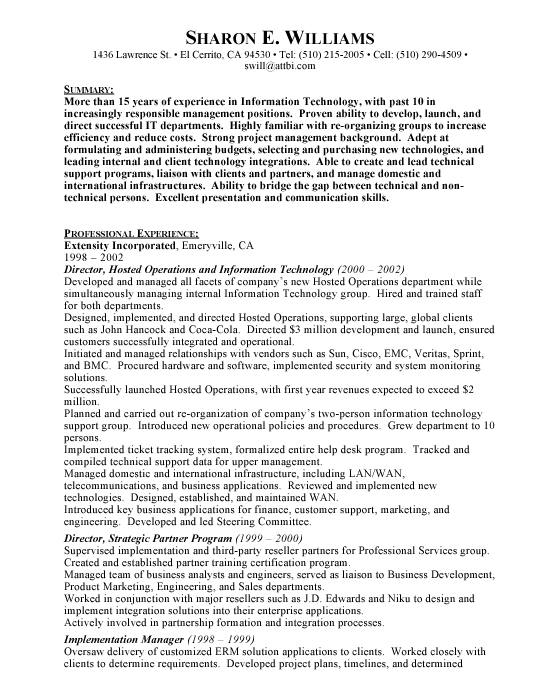 Information Technology Sample Resume