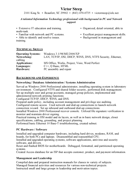 Network Administrator Sample Resume