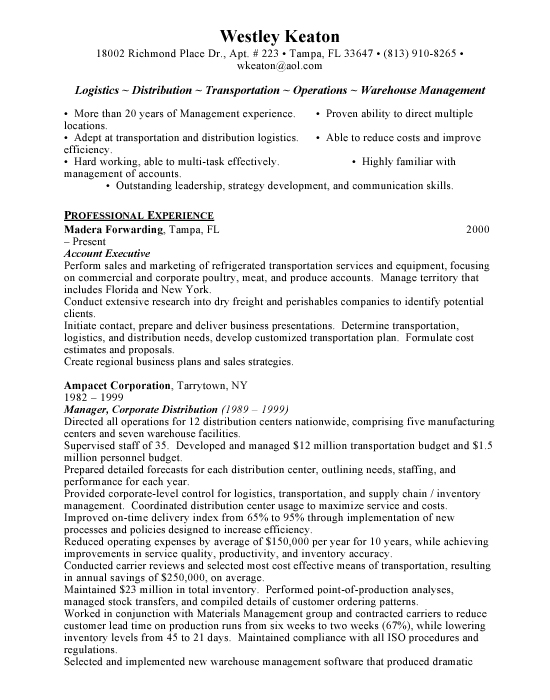 Logistics Manager Sample Resume