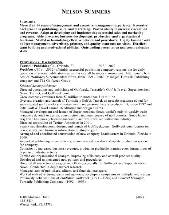 Management Sample Resume