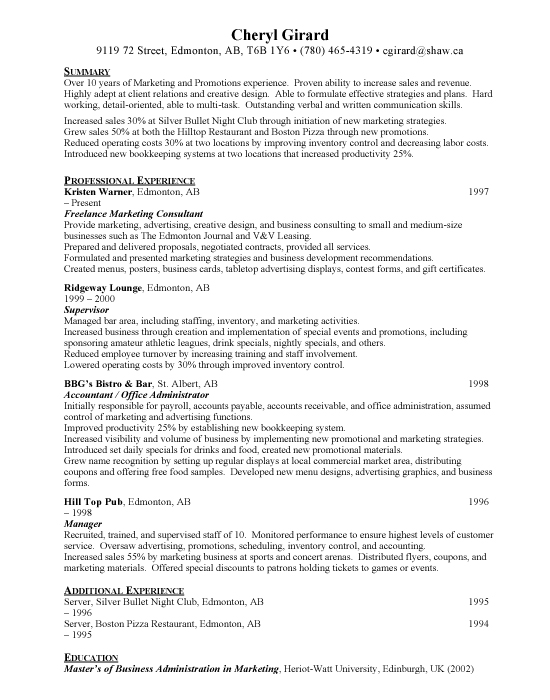 Marketing Assistant Sample Resume