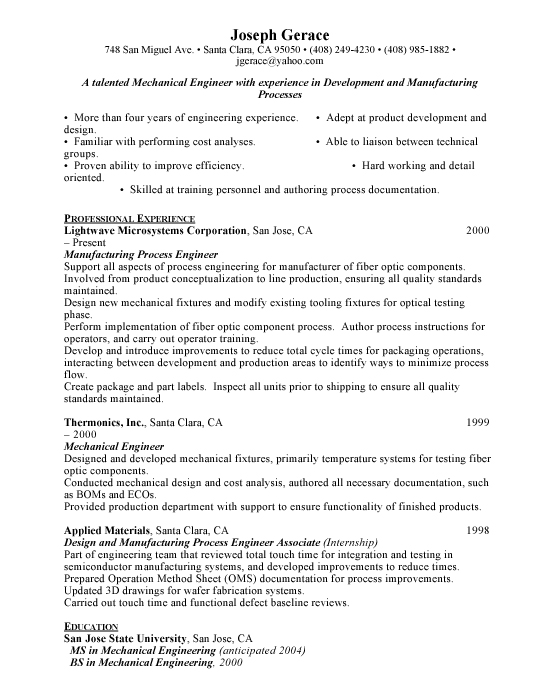 Mechanical Engineer Sample Resume