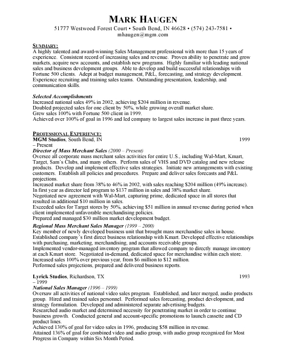 National Sales Manager Sample Resume