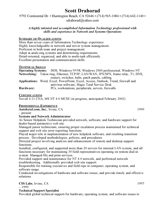 Network Operations Sample Resume