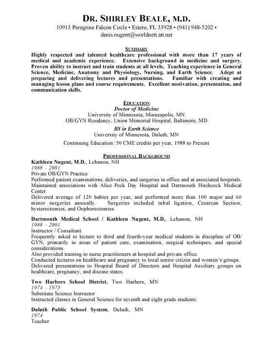 OBGYN Physician Sample Resume