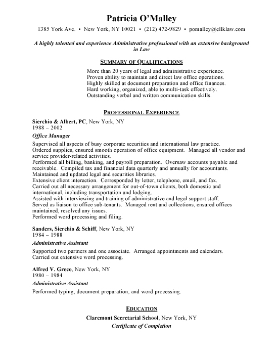Example resume office manager resume objective example for Sample objectives in resume for office staff