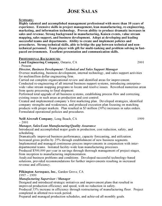 Business Development Sample Resume