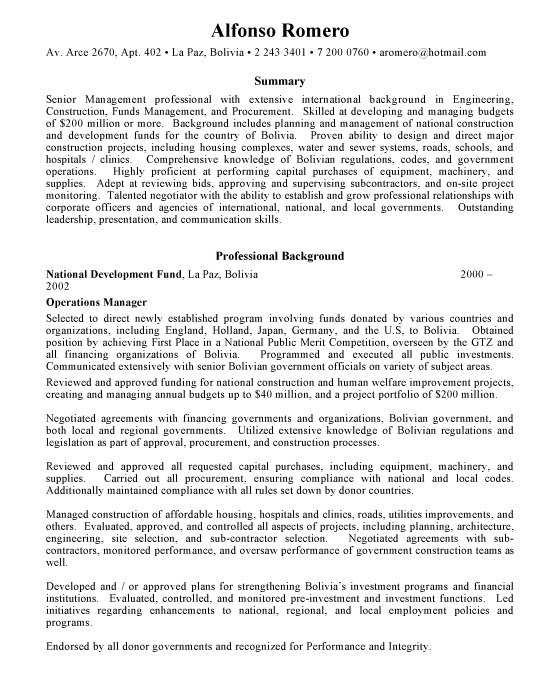 Operations Management Sample Resume