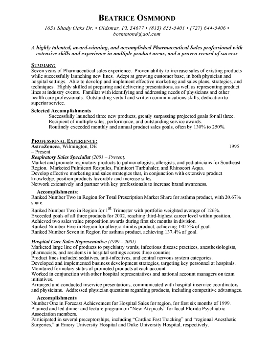 Pharmaceutical Sales Resume Sample