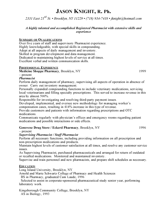 Pharmacist Sample Resume
