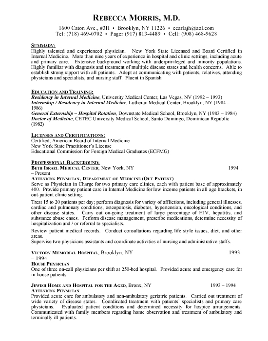 physician doctor sample resume