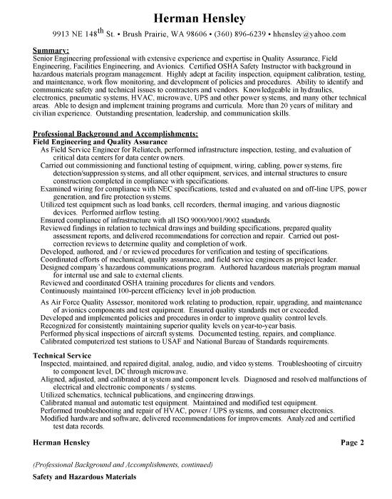 Production Supervisor Foreman Sample Resume