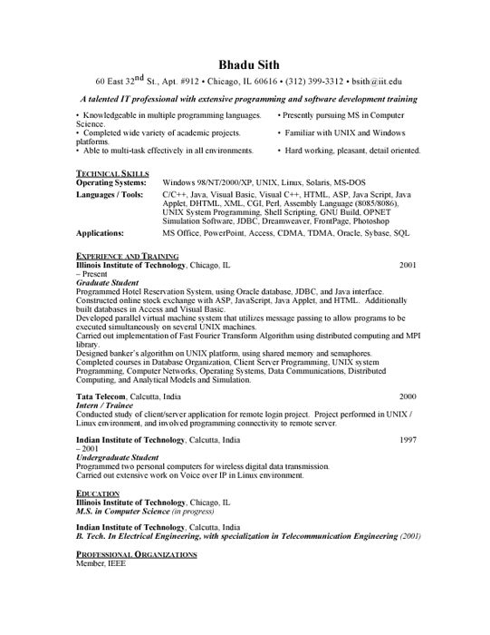 Graduate Student Sample Resume