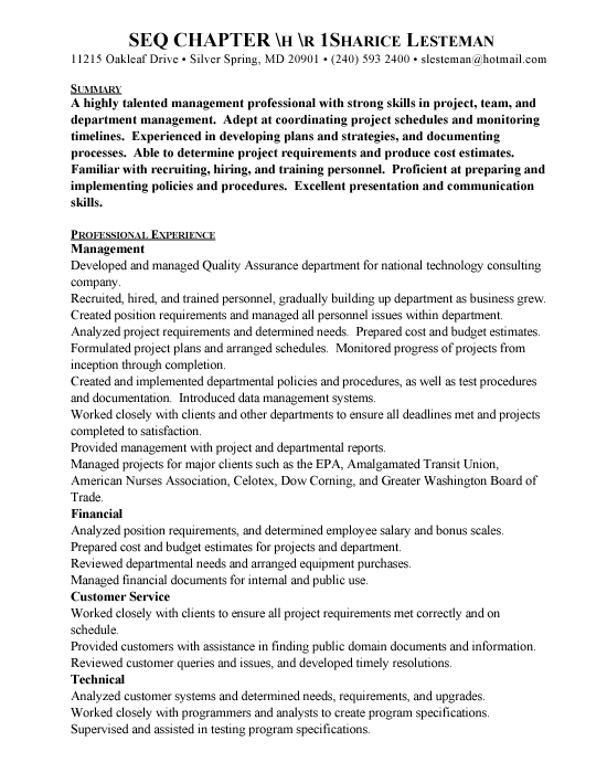 QA Manager Sample Resume